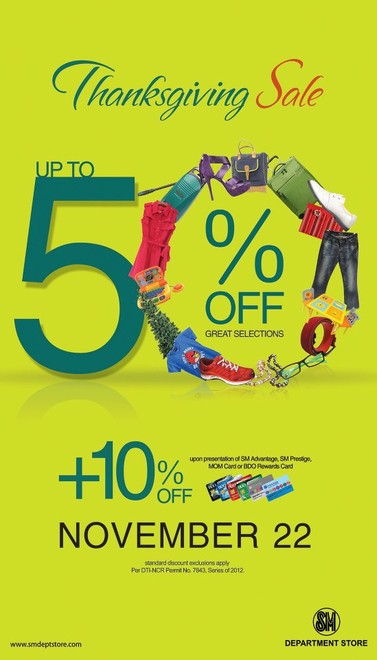 SM Department Store Thanksgiving Sale November 2012