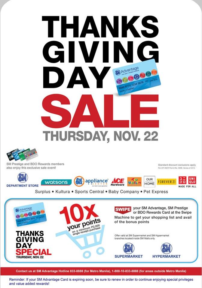 SM Thanksgiving Sale November 2012