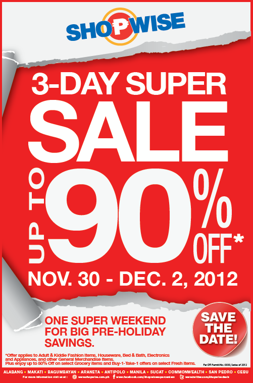 Shopwise 3-Day Super Sale November - December 2012