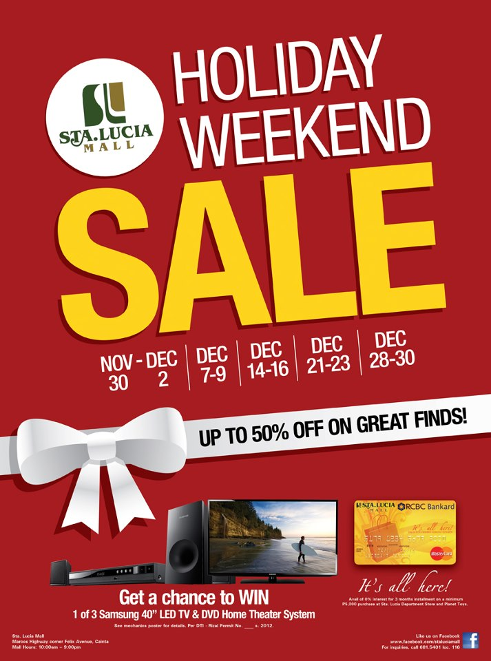 Sta. Lucia East Grand Mall Holiday Weekend Sale November - December 2012