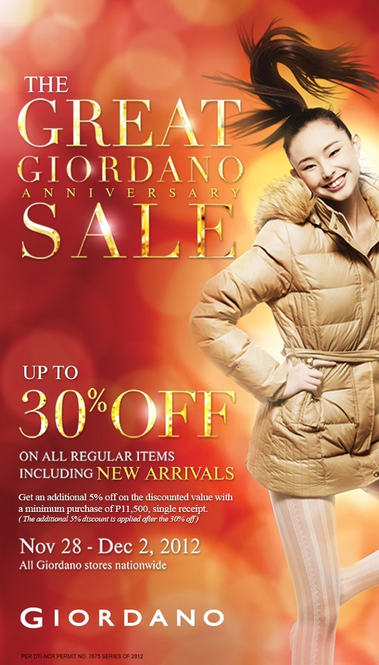 The Great Giordano Anniversary Sale November - December 2012
