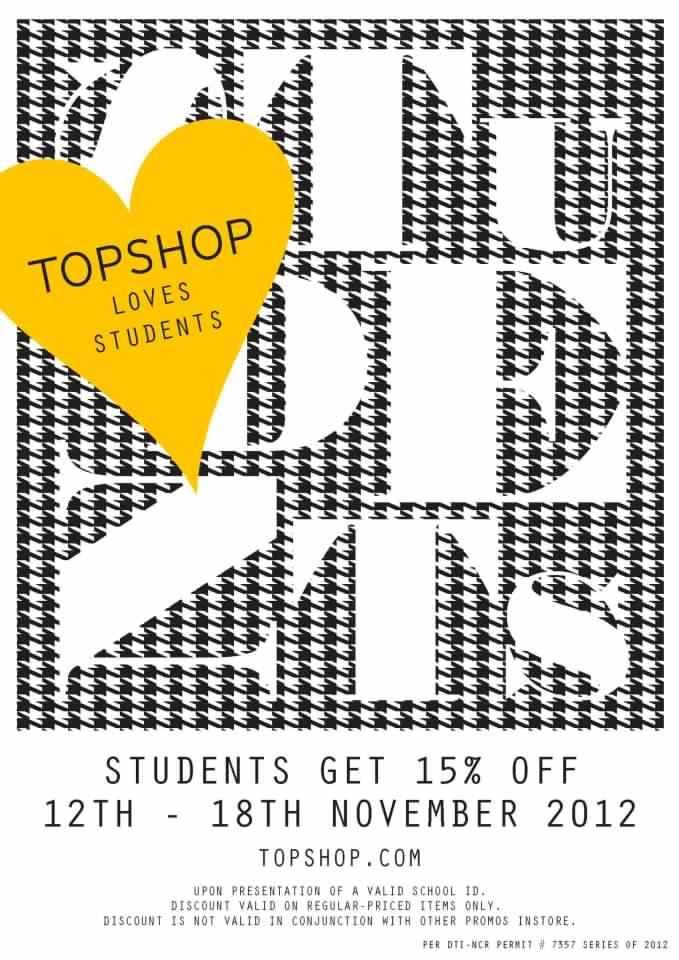 Topshop Loves Students Sale November 2012
