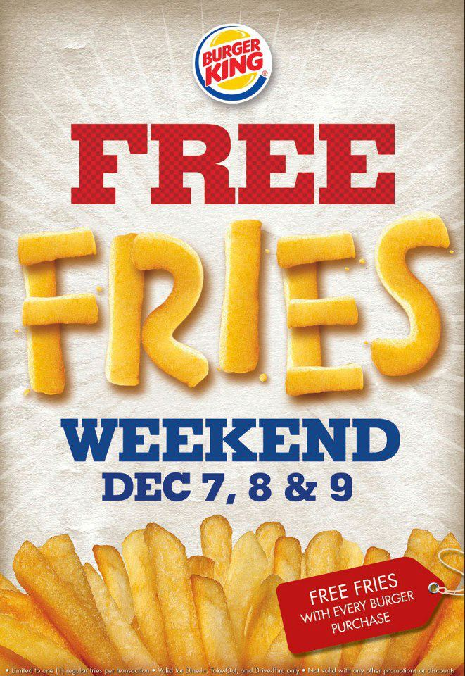 Burger King Free Fries Weekend December 2012