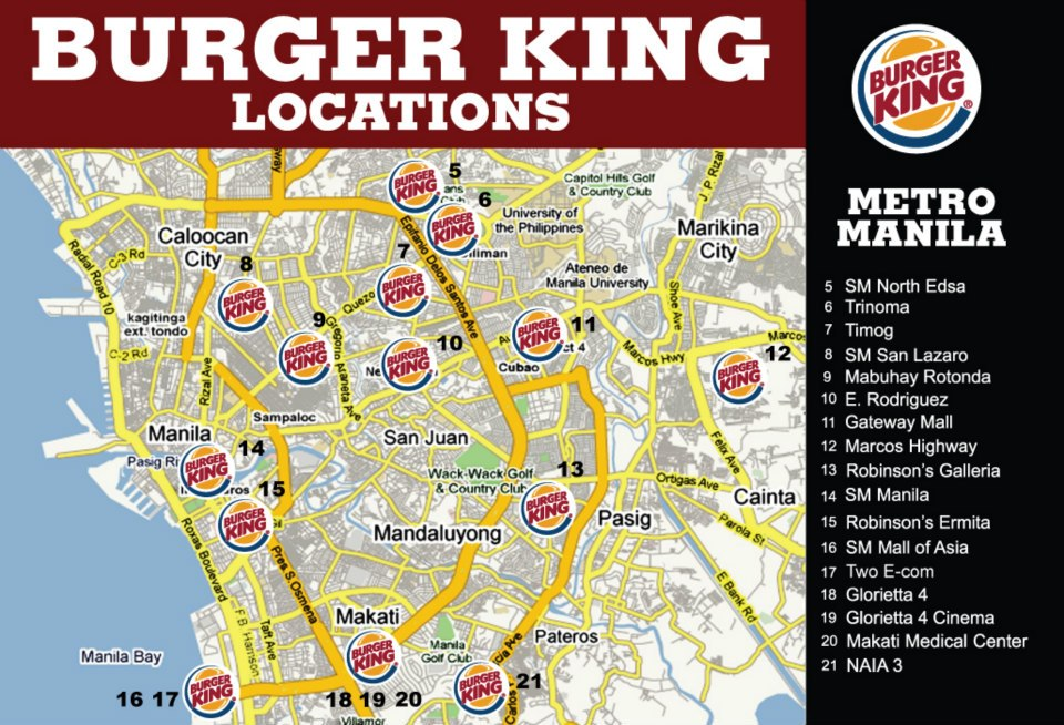 Burger King Restaurants - Metro Manila