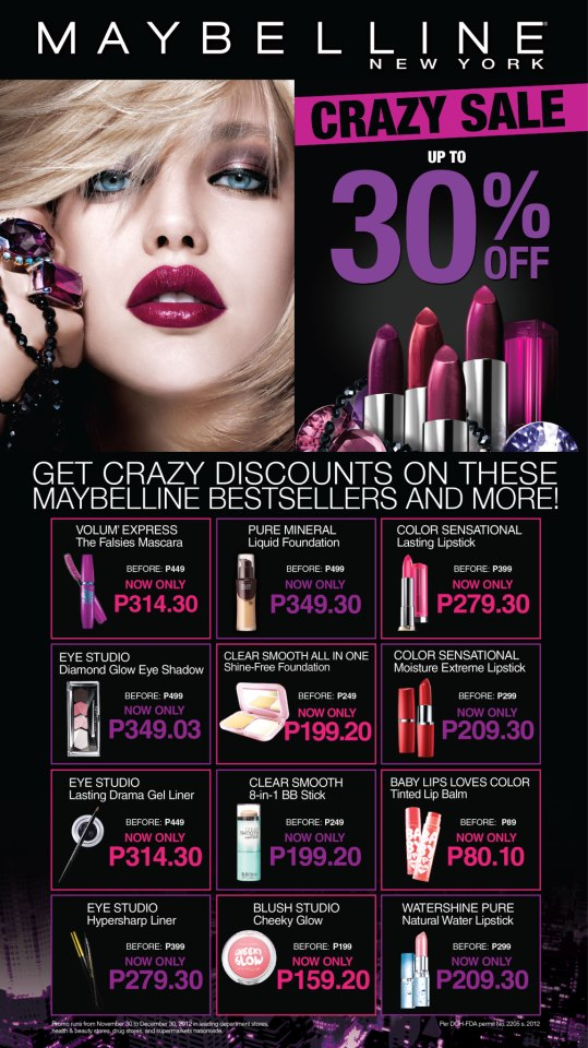 Maybelline Crazy Sale Items December 2012