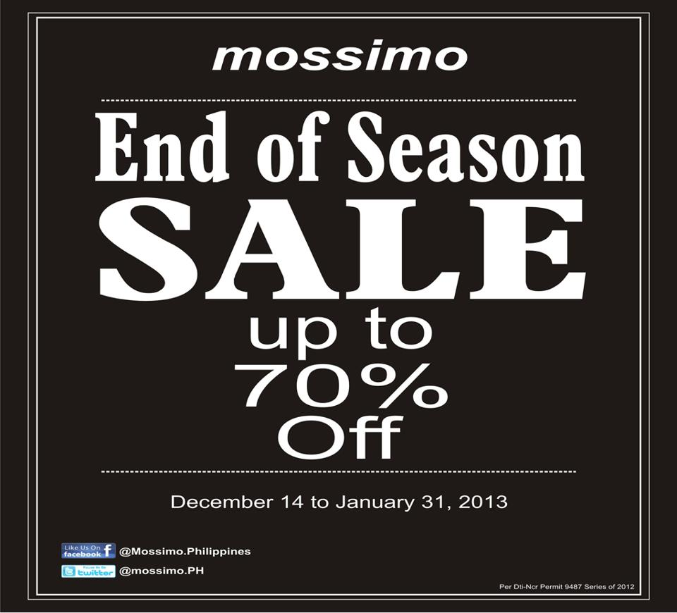 Mossimo End of Season Sale December 2012