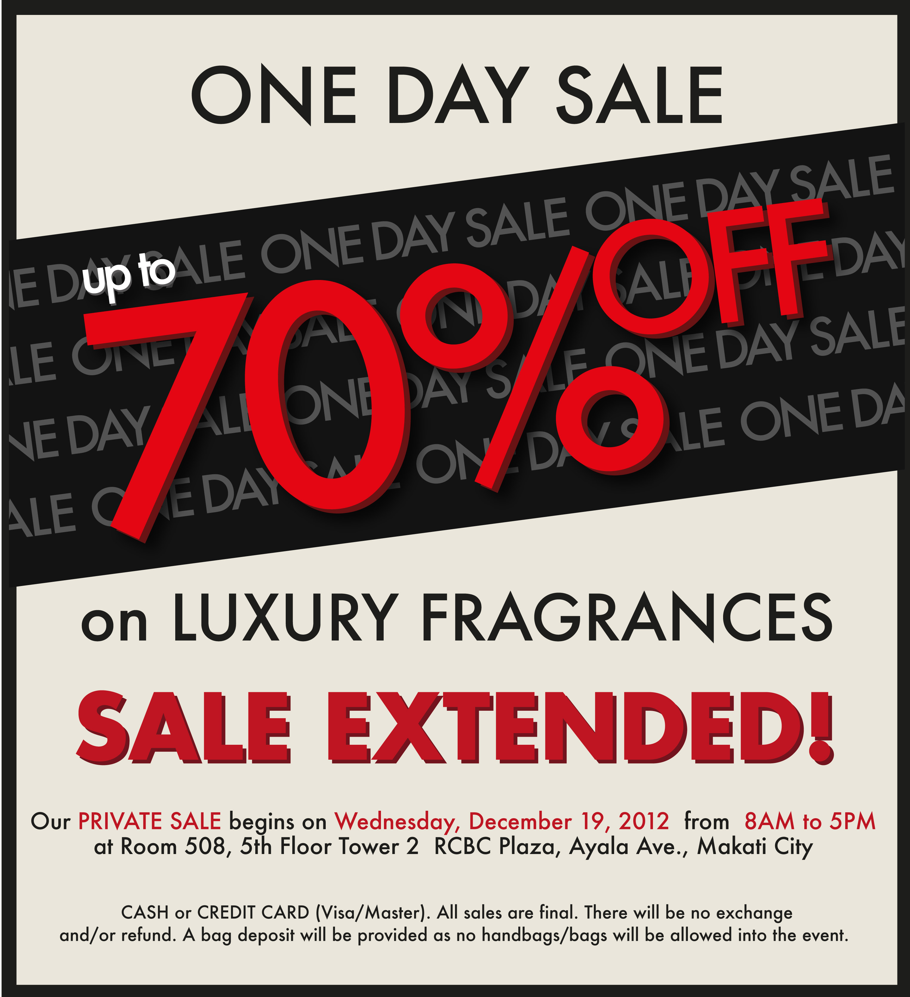 7d04b9a426 Luxury Fragrance Private Sale @ RCBC Plaza December 2012 | Manila On ...