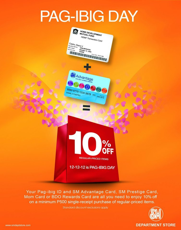 SM Department Store Pag-Ibig Day Sale December 2012