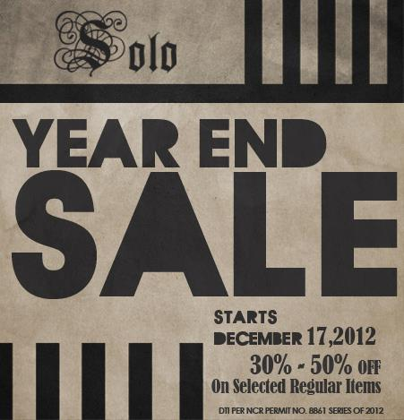 Solo Year End Sale December 2012 - February 2013