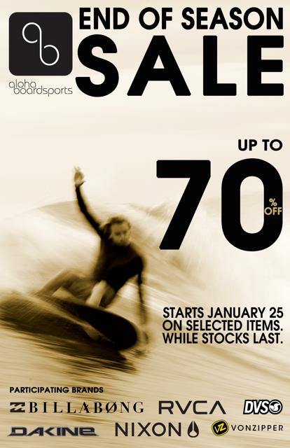 Aloha Boardsports End of Season Sale January 2013