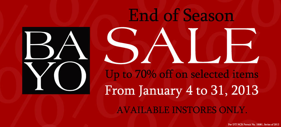 Bayo End of Season Sale January 2013