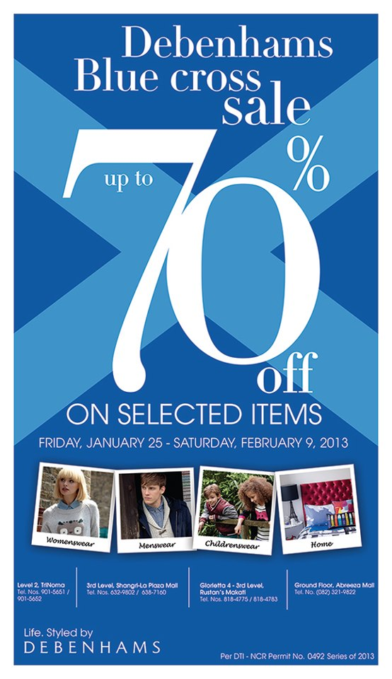 Debenhams Blue Cross Sale January - February 2013
