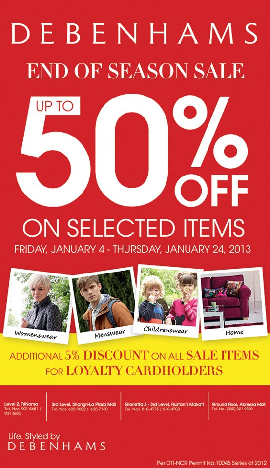 Debenhams End of Season Sale January 2013
