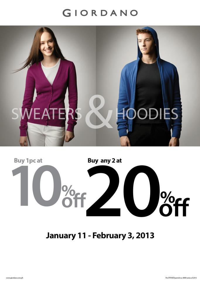 Giordano Sweater & Hoodies Sale January - February 2013