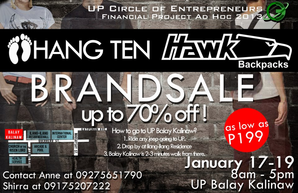 Hang Ten & Hawk Bags Sale @ UP Diliman January 2013