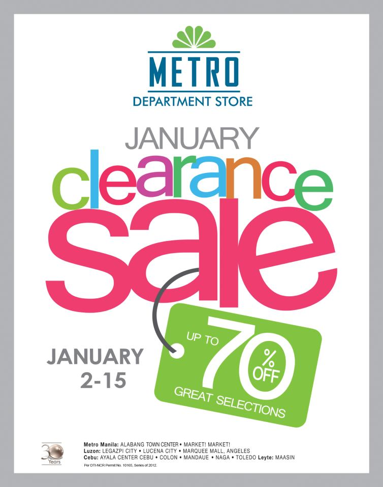 Metro Department Store Clearance Sale January 2013