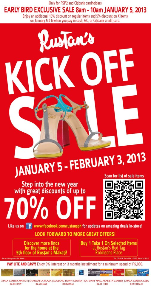 Rustan's Kick off Sale January - February 2013