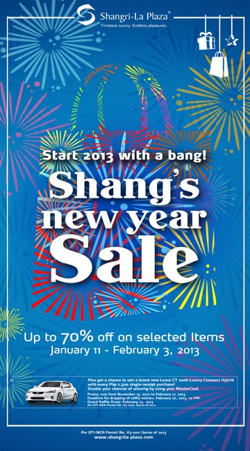 Shangri-La Plaza Mall New Year Sale January - February 2013