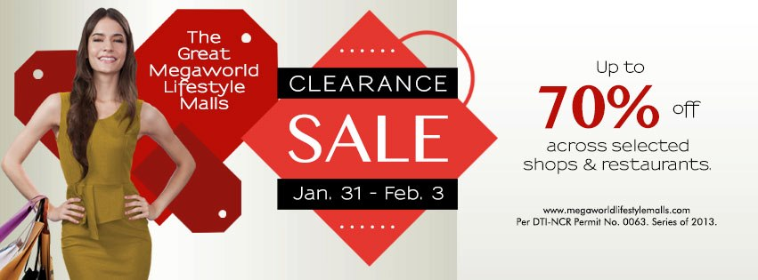 The Great Megaworld Lifestyle Malls Clearance Sale January - February 2013