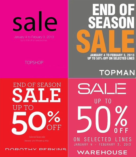 Topshop Topman Dorothy Perkins End of Season Sale January 2013