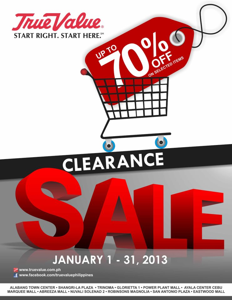 True Value Clearance Sale January 2013