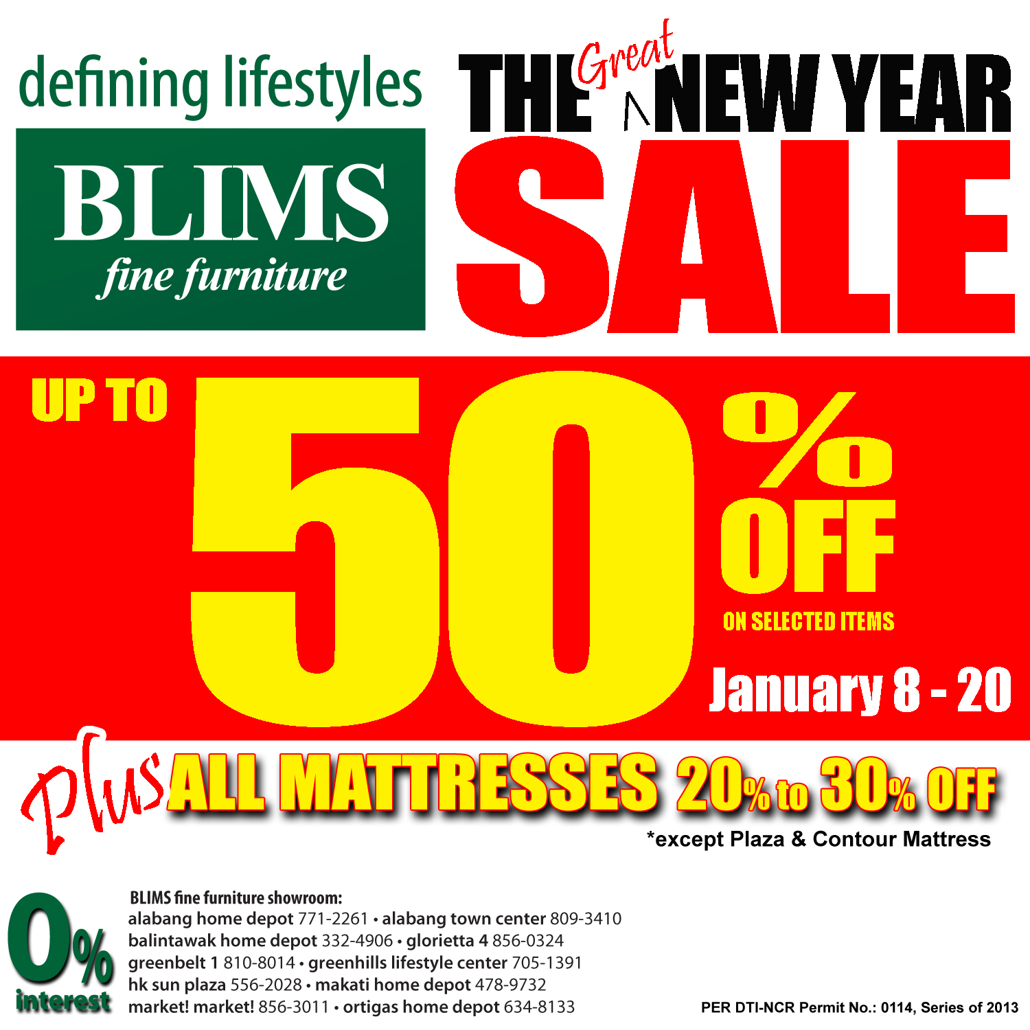 BLIMS Fine Furniture The Great New Year Sale January 2013