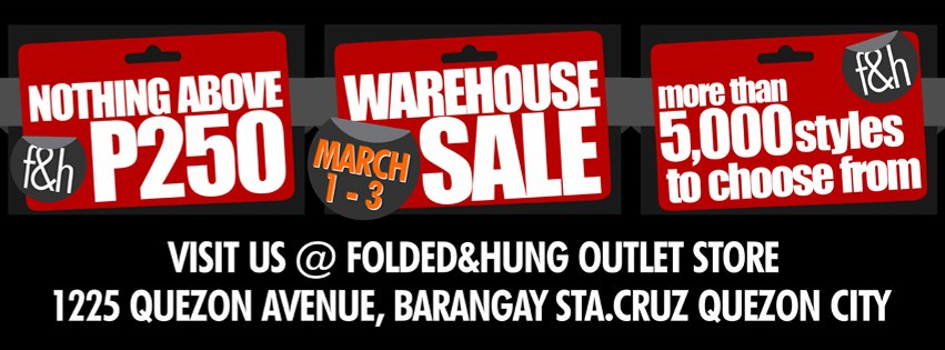Folded and Hung Warehouse Sale March 2013