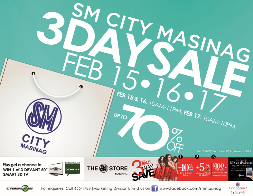 SM City Masinag 3-Day Sale February 2013