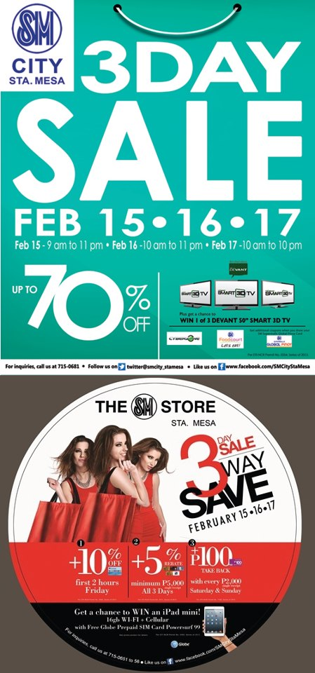 SM City Sta. Mesa 3-Day Sale February 2013