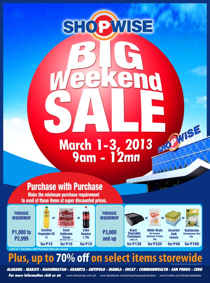 Shopwise Big Weekend Sale March 2013