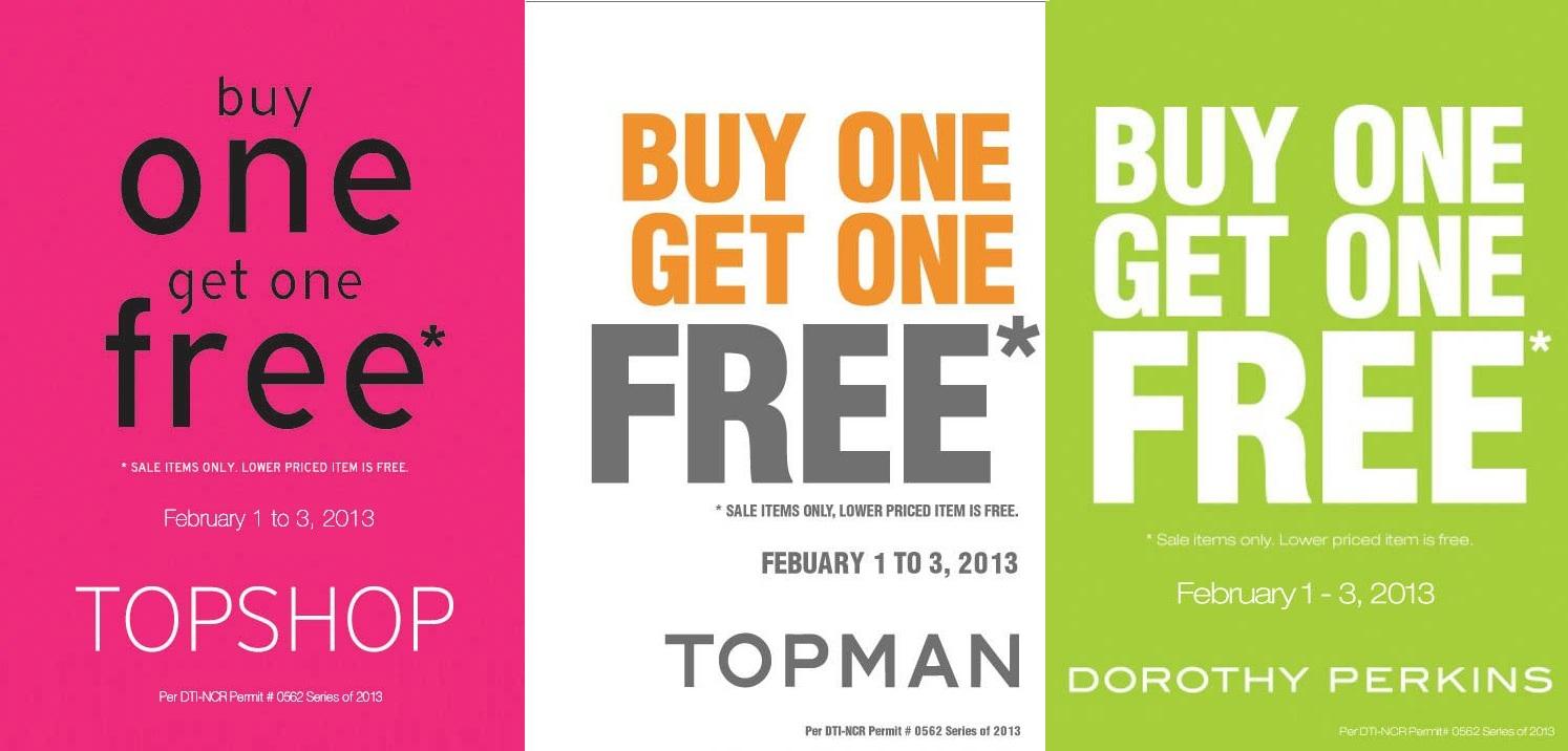 Topshop, Topman, Dorothy Perkins  Buy 1 Get 1 Free Promo February 2013