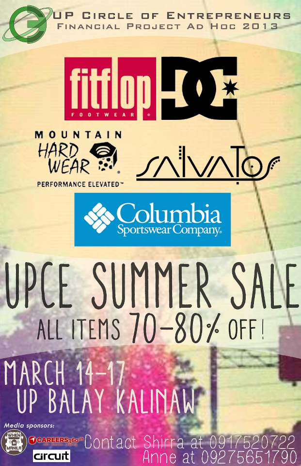 DC, FITFLOP, COLUMBIA, MOUNTAIN HARD WEAR & SALVATOS Sale at UP Diliman March 2013