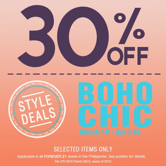 Forever 21 Boho Chic Sale March - April 2013