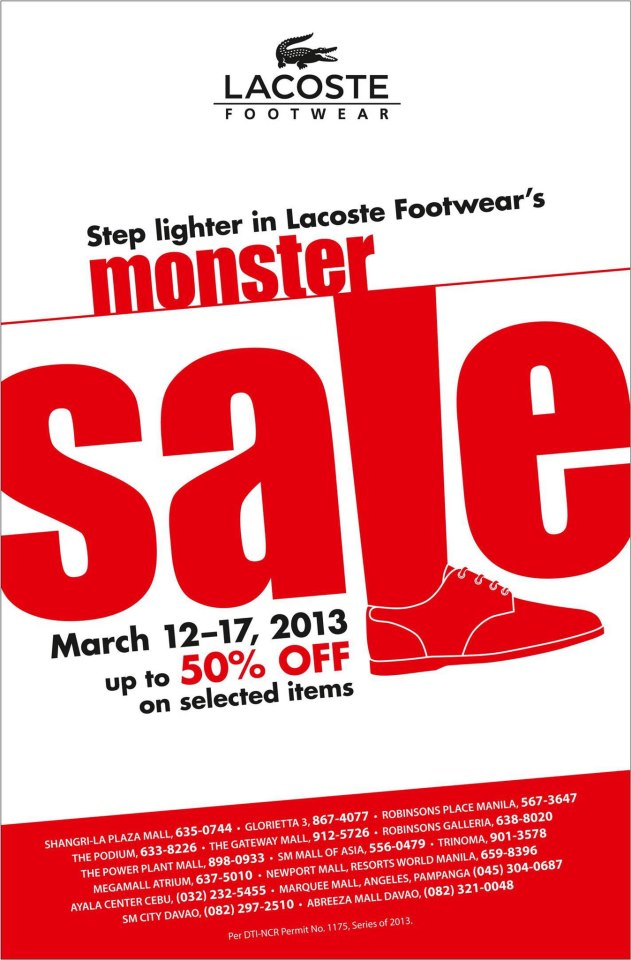 Lacoste Footwear Monster Sale March 2013