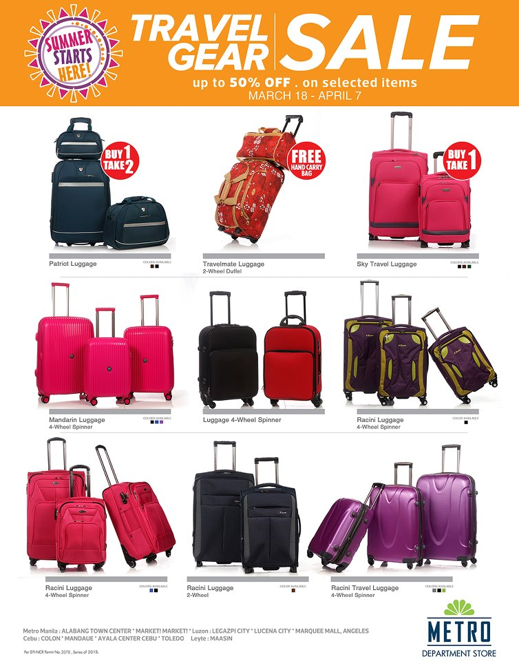 Metro Department Store Travel Gear Sale March - April 2013