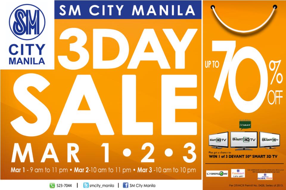 SM City Manila 3-Day Sale March 2013