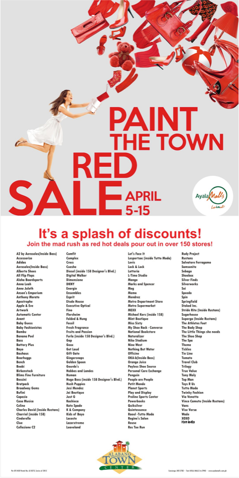 Paint The Town Red Sale @ Alabang Town Center April 2013