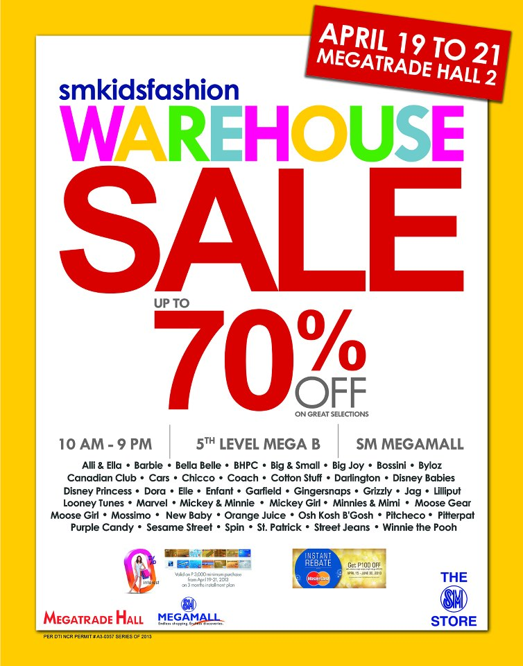 SM Kids Warehouse Sale @ SM Megatrade Hall April 2013