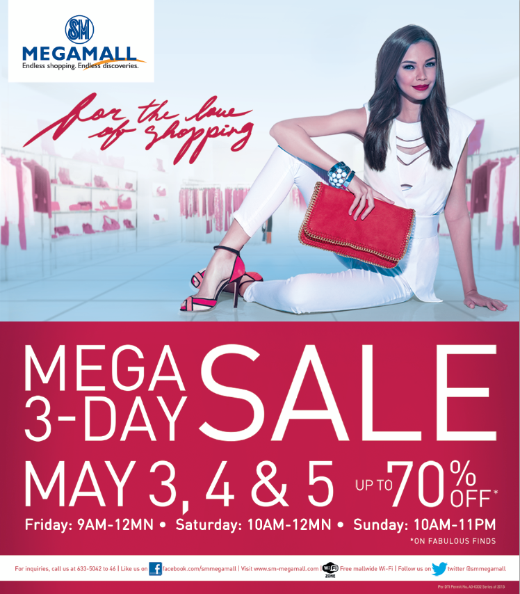 SM Megamall Mega 3-Day Sale May 2013