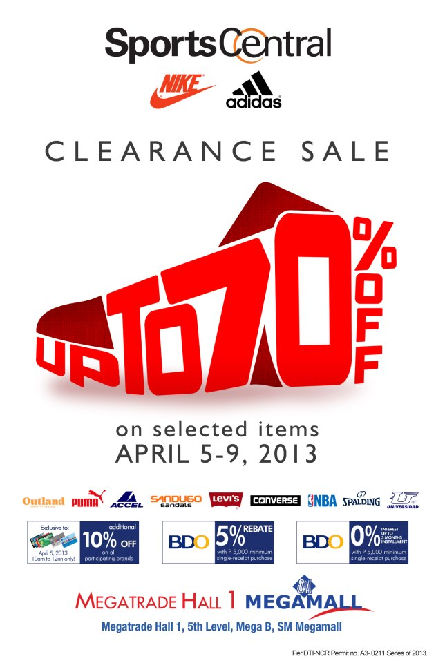 Sports Central Clearance Sale @ SM Megatrade Hall April 2013