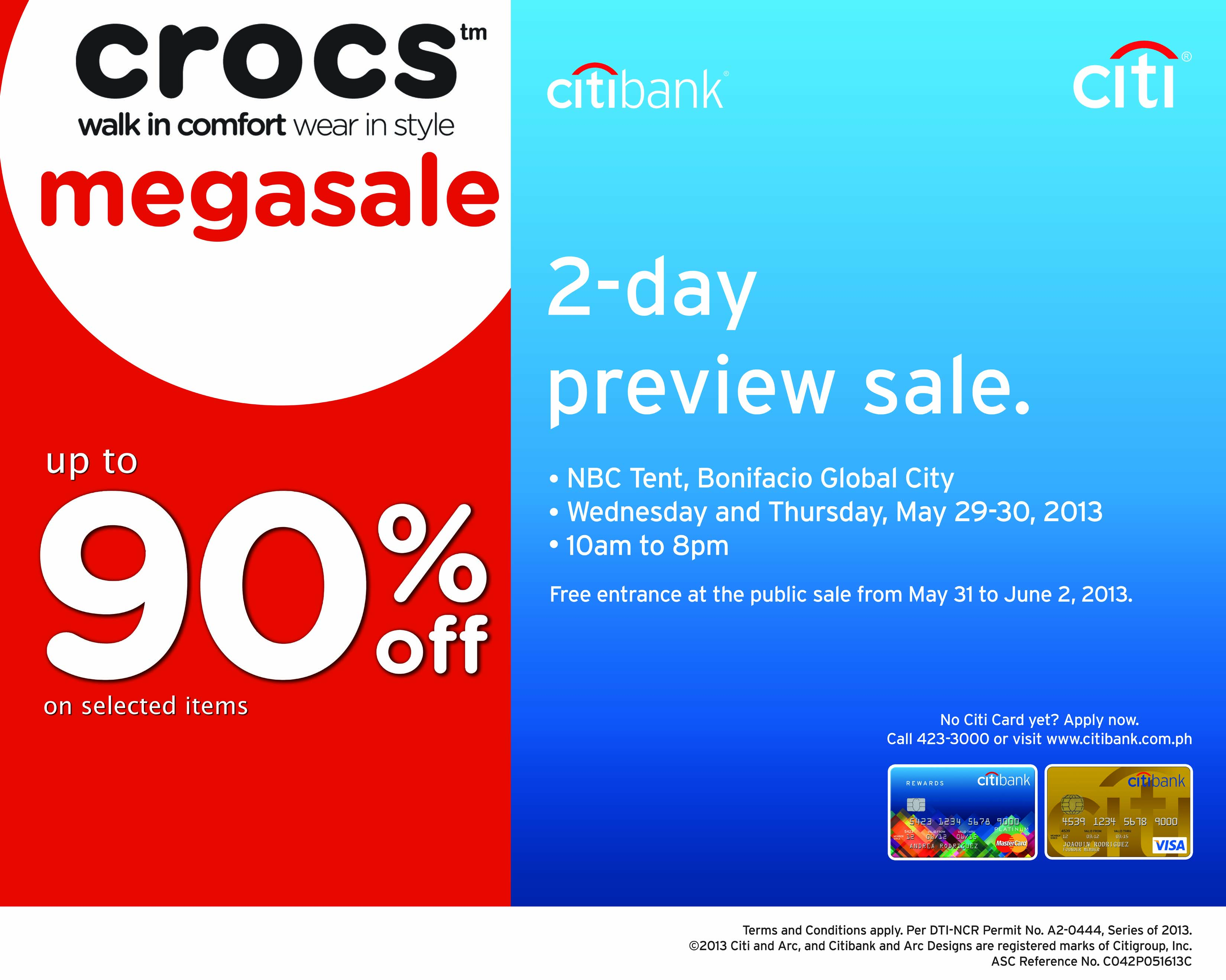 Citibank Promo: Exclusive 2-Day Preview Sale at Crocs Megasale @ NBC Tent May 2013
