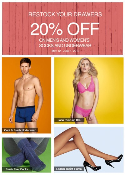 Marks & Spencer Socks & Underwear Sale May - June 2013