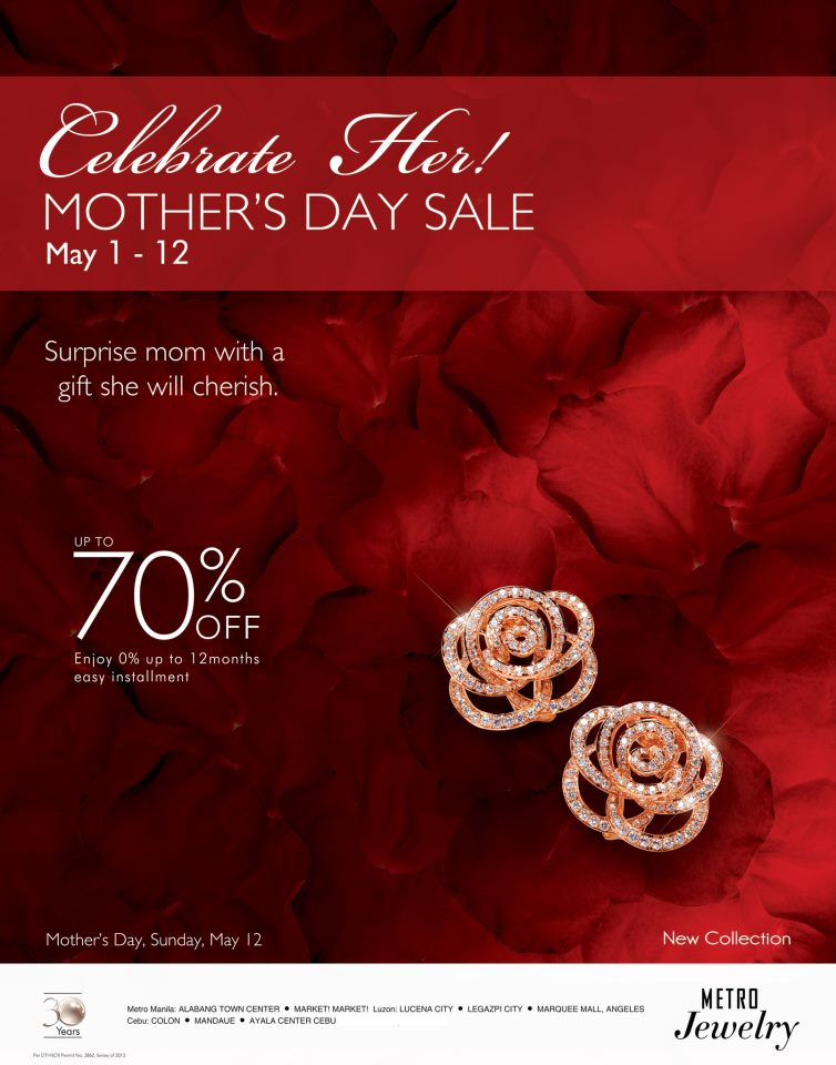 Metro Jewelry (Metro Stores) Mother's Day Sale May 2013