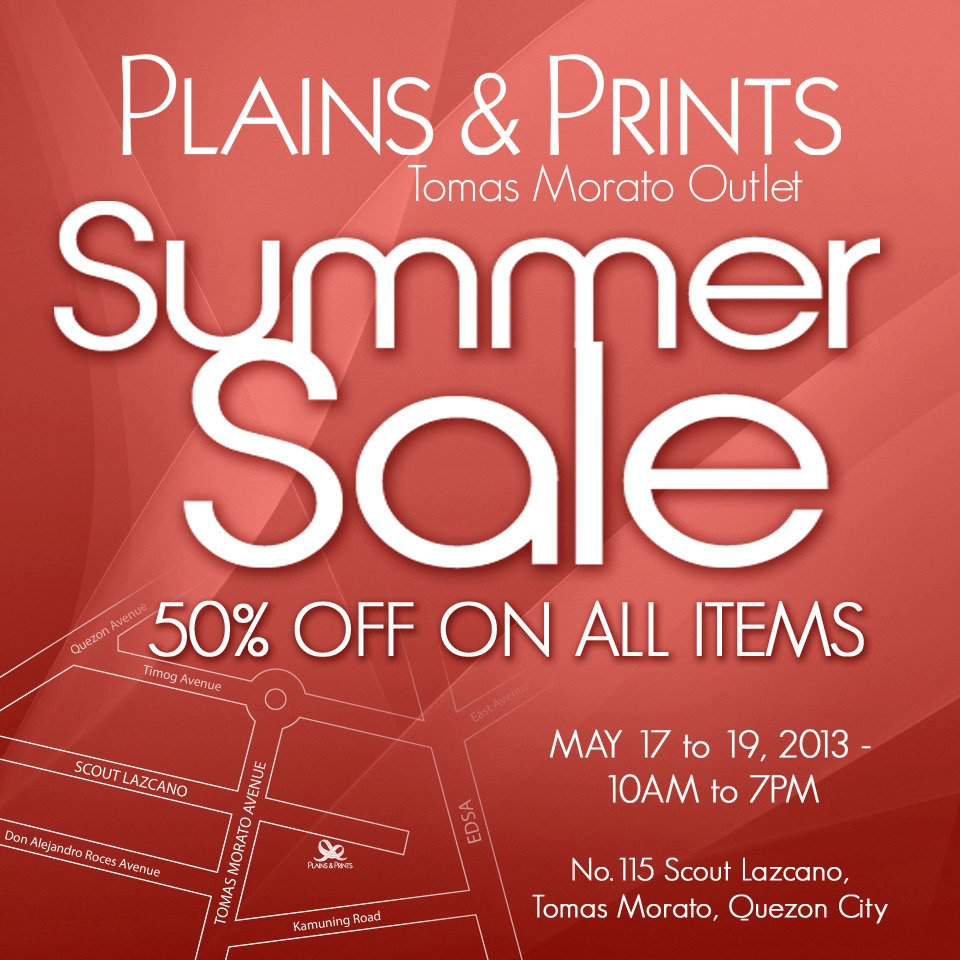 Plains & Prints Summer Sale @ Tomas Morato Outlet May 2013