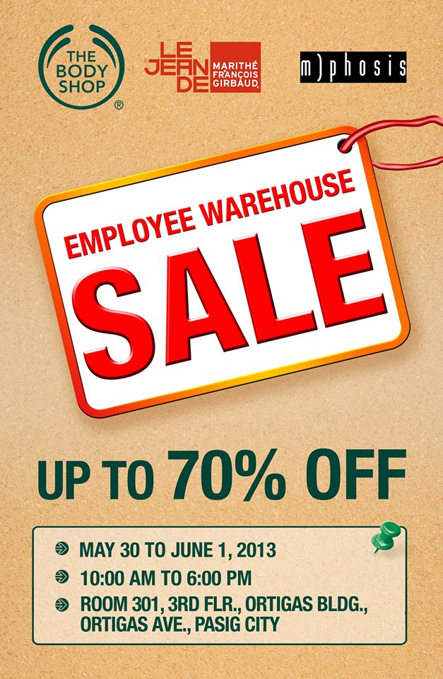 The Body Shop, M+FG, MPhosis Employee Warehouse Sale May - June 2013