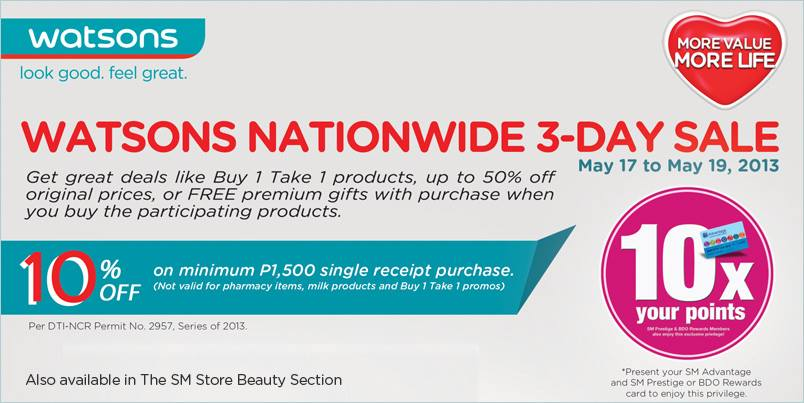 Watsons Nationwide 3-Day Sale May 2013