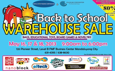 Back to School Warehouse Sale May 2013