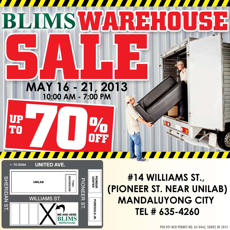 BLIMS Warehouse Sale May 2013