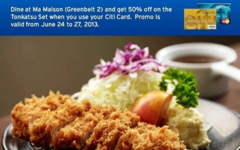 Citibank Promo: 50% off at Ma Maison Greenbelt 2 June 2013
