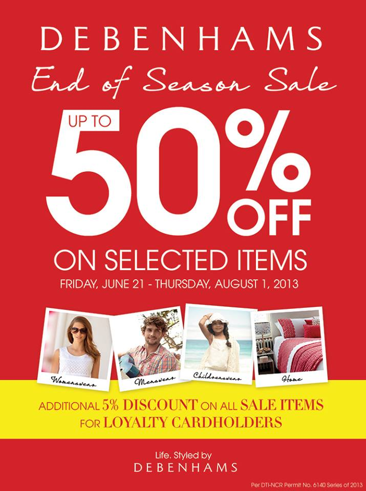 Debenhams End of Season Sale June - August 2013